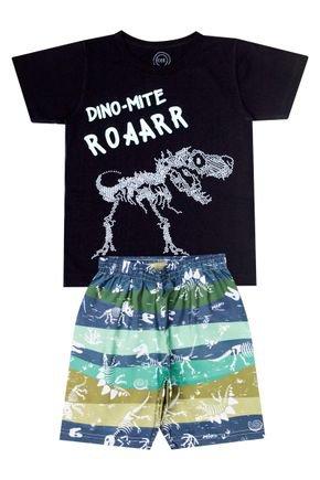 Conjunto Menino de Verão Camiseta Preto e Bermuda Chumbo - O2E