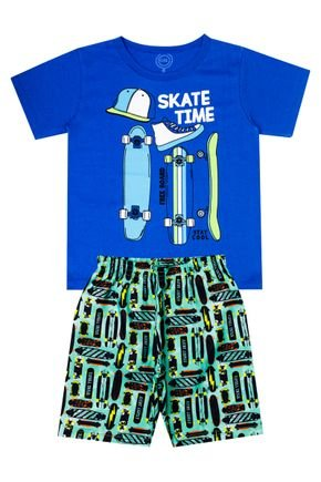 Conjunto Menino de Verão Camiseta Azul e Bermuda Verde Claro - O2E