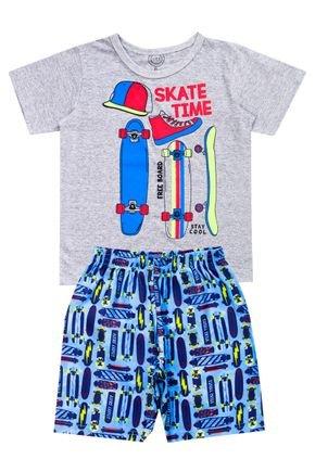 Conjunto Menino de Verão Camiseta Mescla e Bermuda Azul - O2E