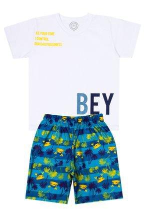 Conjunto Menino de Verão Camiseta Branco e Bermuda Azul - O2E