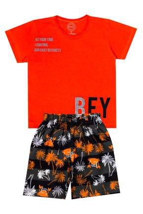 Conjunto Menino de Verão Camiseta Laranja e Bermuda Chumbo - O2E