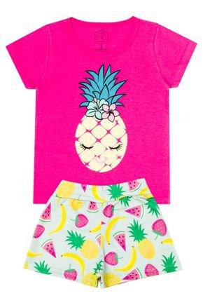 Conjunto Menina Blusa Pink e Shorts Verde Claro - O2E