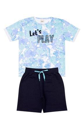 Conjunto Menino Camiseta Azul Rotativa e Bermuda Marinho - Ralakids