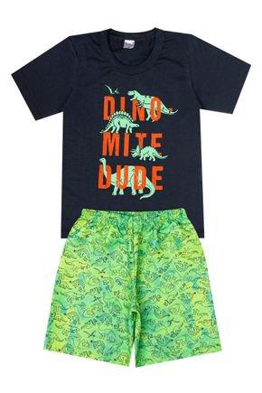 Conjunto Menino de Verão Camiseta Chumbo e Bermuda Verde - Liga Nessa