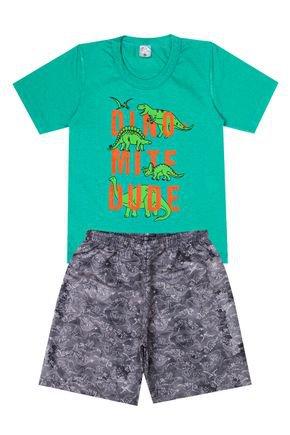 Conjunto Menino de Verão Camiseta Verde e Bermuda Cinza - Liga Nessa