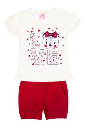 Conjunto Menina de Verão Blusa Off White e Shorts Vermelho - Inovakids
