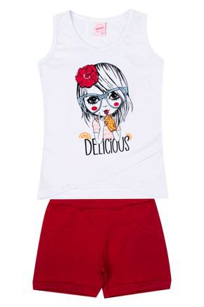 Conjunto Menina de Verão Regata Branca e Shorts Vermelho - Inovakids