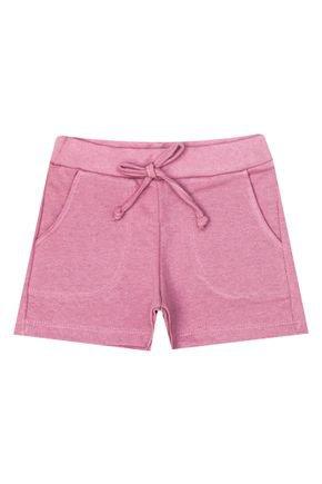 Shorts Menina de Verão em Moletinho Rosa - Inovakids