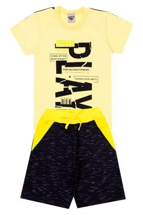 Conjunto Menino de Verão Camiseta Amarela e Bermuda Preto - Pimentinha