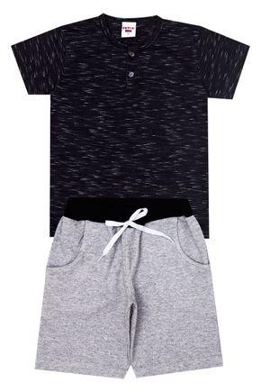 Conjunto Menino de Verão Camiseta Preto e Bermuda Mescla - Pimentinha
