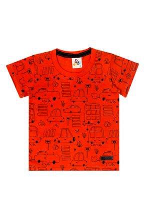 Camiseta Menino de Verão em Meia Malha Laranja - B Kids