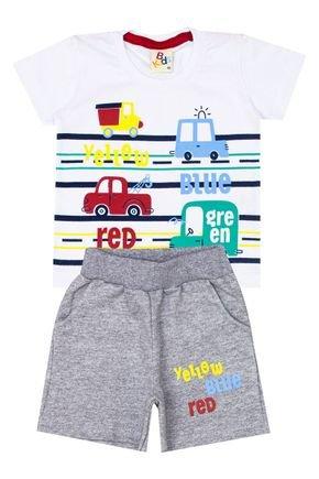 Conjunto Menino de Verão Camiseta Branco e Bermuda Marinho - B Kids