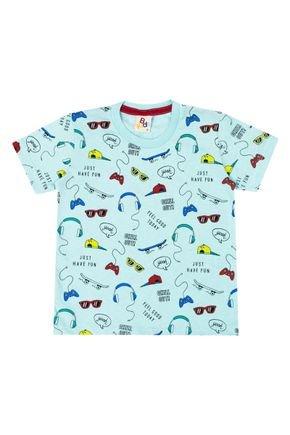 Camiseta Menino de Verão em Meia Malha Verde Claro Rotativa - B Kids