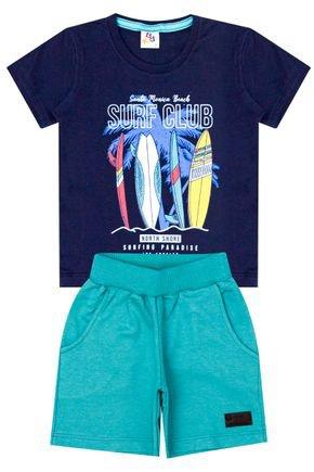 Conjunto Menino de Verão Camiseta Marinho e Bermuda Jade - B Kids