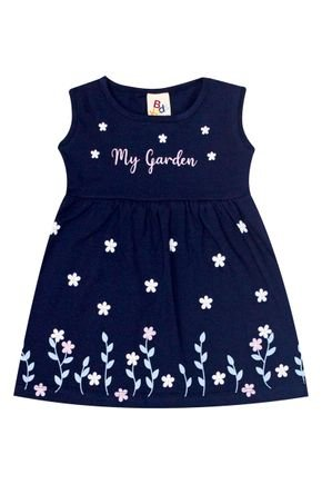 Vestido Menina de Verão em Cotton Marinho - B Kids
