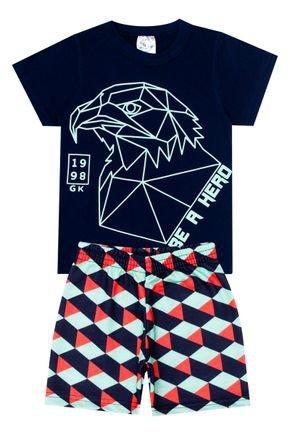 Conjunto Menino de Verão Camiseta Marinho e Bermuda Verde - Kontrato