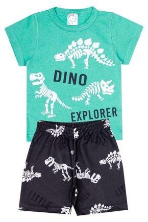 Conjunto Menino de Verão Camiseta Verde e Bermuda Chumbo - Kontrato