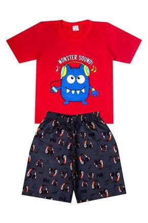 Conjunto Menino de Verão Camiseta Vermelha e Bermuda Chumbo-Liga Nessa