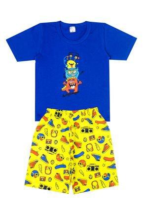 Conjunto Menino de Verão Camiseta Royal e Bermuda Amarela - Liga Nessa