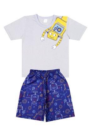 Conjunto Menino de Verão Camiseta Cinza e Bermuda Marinho - Liga Nessa