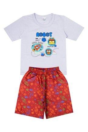 Conjunto Menino de Verão Camiseta Cinza e Bermuda Bordô - Liga Nessa