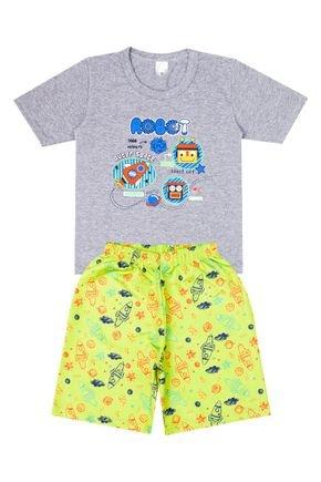 Conjunto Menino de Verão Camiseta Mescla e Bermuda Verde - Liga Nessa