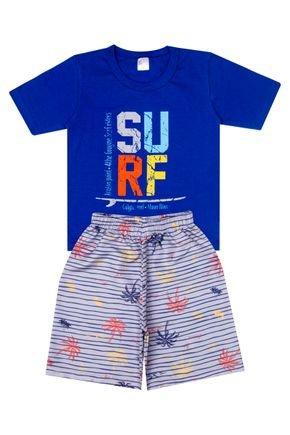 Conjunto Menino de Verão Camiseta Royal e Bermuda Cinza - Liga Nessa
