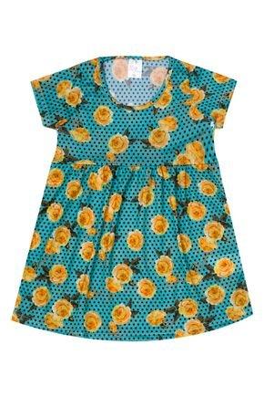 Vestido Menina de Verão em Suplex Verde Claro Rotativo - Liga Nessa
