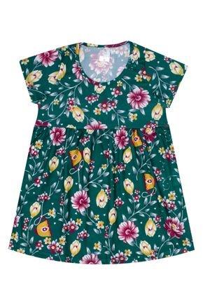 Vestido Menina de Verão em Suplex Verde Rotativo - Liga Nessa