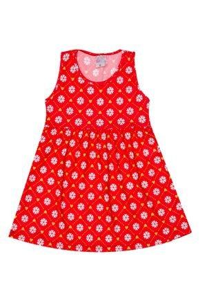 Vestido Menina de Verão em Suplex Vermelho Rotativo - Liga Nessa