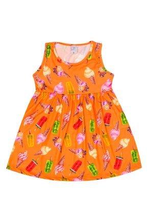 Vestido Menina de Verão em Suplex Laranja Rotativo - Liga Nessa