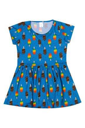 Vestido Menina de Verão em Suplex Azul Rotativo - Liga Nessa