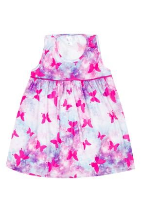 Vestido Menina de Verão em Suplex Rosa Rotativo - Liga Nessa