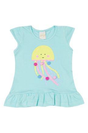 Blusa Menina de Verão em Cotton Verde Claro - Molekada