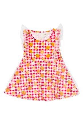 Vestido Menina de Verão em Poliplex Rosa com Detalhe em Tule - Molekada