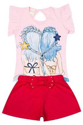 Conjunto Menina de Verão Blusa Rosa e Shorts Godê Pink - Molekada