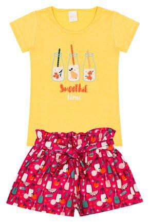 Conjunto Menina de Verão Blusa Amarela e Shorts Clochard Pink - Molekada