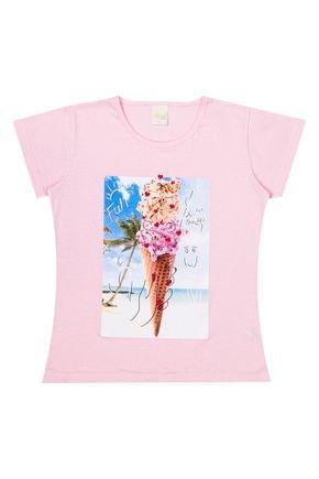 Blusa Menina de Verão em Meia Malha Rosa - Molekada
