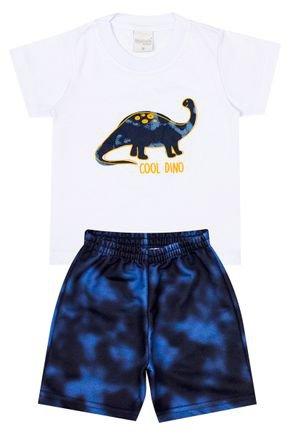 Conjunto Menino de Verão Camiseta Branca e Bermuda Marinho - Molekada