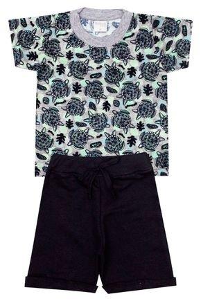 Conjunto Menino de Verão Camiseta Mescla e Bermuda Preto - Molekada