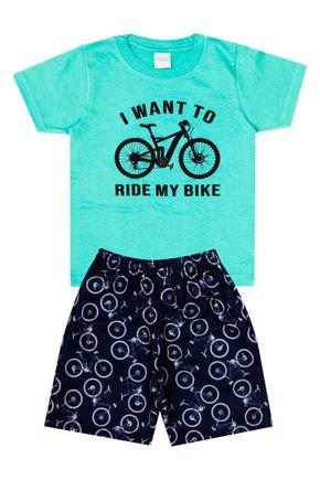 Conjunto Menino de Verão Camiseta Verde e Bermuda Marinho - Molekada