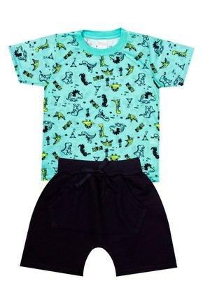 Conjunto Menino de Verão Camiseta Verde e Bermuda Preto - Molekada