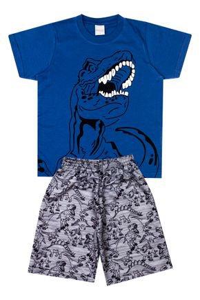 Conjunto Menino de Verão Camiseta Azul e Bermuda Mescla - Molekada