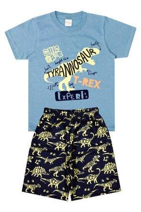 Conjunto Menino de Verão Camiseta  Azul e Bermuda Marinho - Molekada