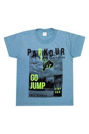 Camiseta Menino de Verão em Meia Malha Azul - Molekada