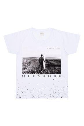 Camiseta Menino de Verão em Meia Malha Branca - Molekada