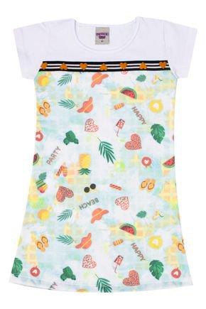 Vestido Menina de Verão Verde Claro com Recorte Branco - Pimentinha