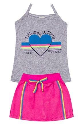 Conjunto Menina de Verão Blusa Mescla e Shorts Saia Pink - Pimentinha