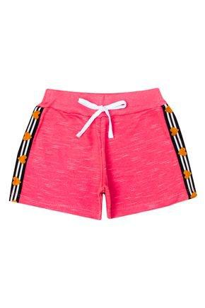Shorts Menina de Verão em Moletinho Jet Goiaba - Pimentinha
