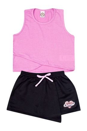 Conjunto Menina de Verão Cropped Rosa e Shorts Saia Preto - Pimentinha